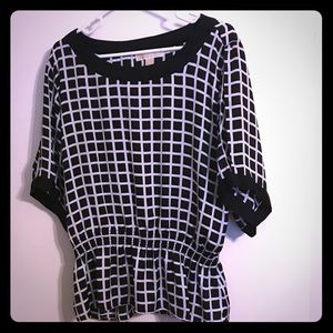 Checked Black and White Blouse